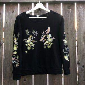 Embroidered birds & floral black pullover